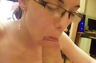 Homemade sucky-sucky goddess in glasses point of view