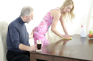 Older goes young fellow makes Polina want him painfully by deep-throating her melons
