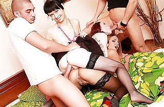 Youthful girls in stockings harshly drilled